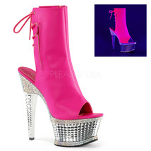 New ILLUSION 1018RS Neon Hot Pink PU Open-Toe/Open Heel Ankle Boot 6.5 i... - $89.99
