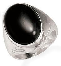Unisex black onyx silver ringdd thumb200