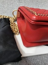 AUTHENTIC CHANEL RED QUILTED CALFSKIN 2 WAY TOP HANDLE BOY FLAP BAG RECEIPT  image 3