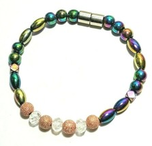 Beaded Bracelet Magnetic Hematite Clasp Single Strand   7 Inch   (MAG-026)