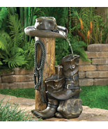 Water Fountain Cowboy Boot Hat Rope - $87.00