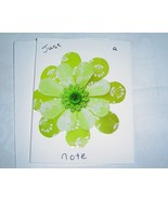 Just a Note, green craft flower Card, Handcrafted scrap happy card - $4.95