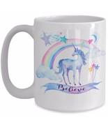 Unicorn Mug Gift - Believe - Unicorn Rainbow Daughter Girlfriend Mom Coffee Cup - £10.76 GBP - £12.92 GBP