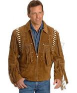 Men Handmade Scully Western Vintage Tradition Suede Leather Jacket Fringe Bone - $159.99 - $229.99