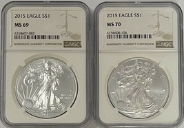 2015 Silver Eagle NGC MS69 / MS70 2 Coin Set - $99.50