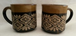 Vintage Brown Glaze Textured Stoneware Coffee Mugs Japan Pair - $9.89