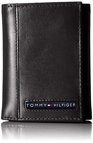 Tommy Hilfiger Men's Leather Cambridge Trifold Wallet,Black,