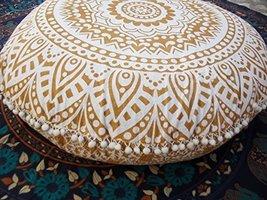 Traditional Jaipur Golden Ombre Mandala Floor Cushion, Large Decorative ... - $49.97
