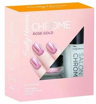 NEW Sally Hansen Salon Chrome 3-Piece Kit Miracle Gel Nail Polish in ROS... - $12.86