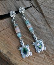 Long Boho earrings, Turtle earrings, shell earrings,Silver drop Earrings... - $13.99