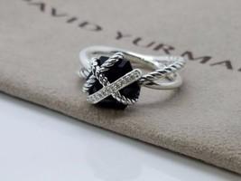 David Yurman Sterling Silver Cable Wrap Ring Black Onyx Diamonds Size 8 - $246.51