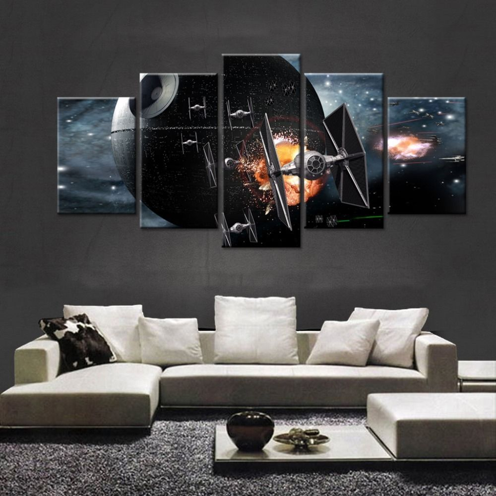 Large Framed Star Wars Tie Fighter Death Star Canvas Print Five Piece Wall Decor for sale  USA