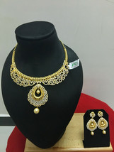 Indian Bollywood Bridal CZ Gold Plated Pearl Fashion Jewelry Necklace Set - $98.99