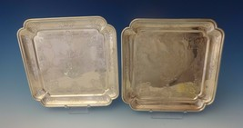 Tane Mexican Sterling Silver Serving Plates Pair Square Hand Engraved (#0146) - $1,583.10