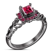 10k Black Rhodium Finish 925 Silver Pink Sapphire Women's Bridal Engagem... - $78.99