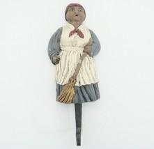 """Black Americana Figural Wall Hook Woman in Blue Dress and Apron 6.25"""" Ke... - $12.86"""