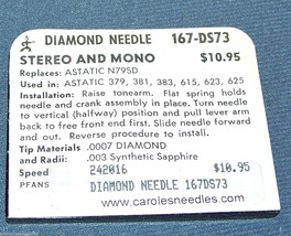 PHONOGRAPH NEEDLE STYLUS 167-DS73 used in Astatic 379 381 383 615 621 623 625 image 2