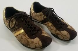 N) COACH Katelyn Brown & Gold Signature Logo Shoes Women's Size 5.5M - $24.74