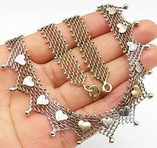 925 Sterling Silver - Vintage Retro Designed Love Heart Choker Necklace ... - $74.04