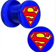 DC Comics Superman Logo 0 Gauge (8 mm) 0g Blue Acrylic Screw Fit Plug Set