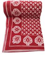 Red Floral Jaipuri Razai Handmade Quilt King Size Bedspread Winter Bedspread - $120.00