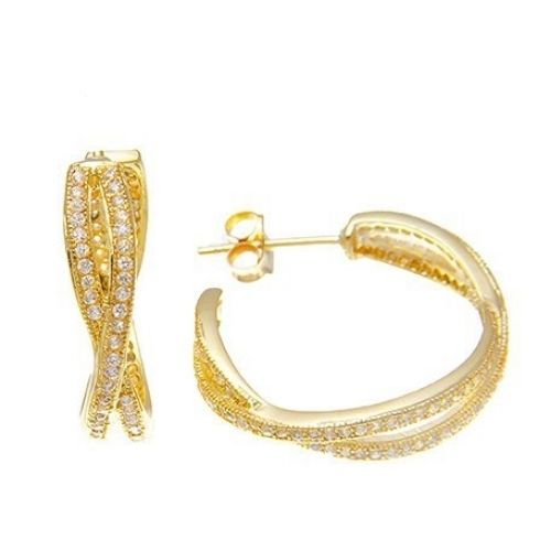 Primary image for Dainty Pave Cubic Zirconia Yellow Sterling Silver ByPass Hoop Earrings-CZ-20mm