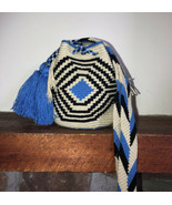 Authentic 100% Wayuu Mochila Colombian Bag mini Size siena natural blue ... - $34.50