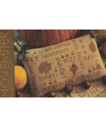 November Word Play cross stitch chart  With Thy Needle Brenda Gervais  - $9.00