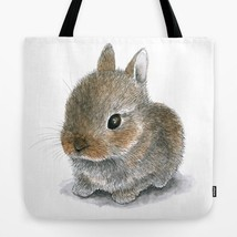 Tote bag All over print Hare 61 Rabbit Bunny art painting by L.Dumas - $26.99+