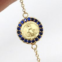 18K YELLOW GOLD ROSARY BRACELET, FACETED SAPPHIRE ROOT, CROSS, MIRACULOUS MEDAL image 6