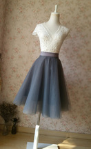 DARK GRAY Tulle Midi Skirt Women Full Circle Tulle Party Skirts High Waist Plus image 4