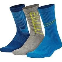 NEW Nike Boy's Performance Cushioned Crew Athletic Socks 3-Pack Sz Sm S Blue $16 - $13.98