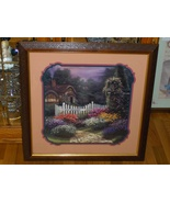 Home Interior Homco Picture Country Cottage Picket Fence Flower Garden 2... - $89.99