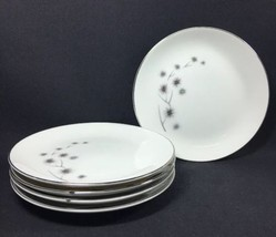 Set of 5 Bread or Dessert Plates Creative Fine China Platinum Starburst ... - $23.75
