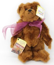 Sally Winey Collectible Brown Plush Poseable  Bear Chestnut Purple Bow N... - $25.64