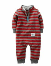 Carter's Baby Boys' Terry Red Stripe Coverall Airplane Tours Jumpsuit 6M - $14.84