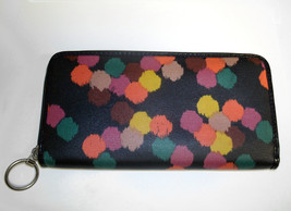 Fossil Coated Canvas Navy Ziparound Accordion Clutch Large Wallet image 6