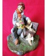 Vintage Folk Art Figurine Homeless Man Feeding Pigeons Signed Whittingto... - $23.99