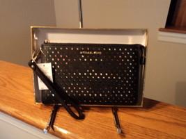 Authentic Michael Kors Medium Gusset Wristlet Pierced Leather Black Gift... - £59.09 GBP