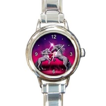 Ladies Round Italian Charm Bracelet Watch Unicorn Dance Gift model 28540735 - $11.99