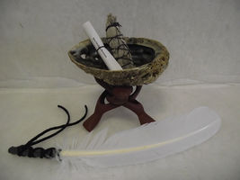 WHITE SAGE SMUDGE KIT WHITE FEATHER 5 PIECE SMUDGE KIT BY SAGE N SMUDGE - $42.00