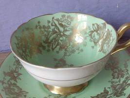 Antique 1950's Coalport Bone china Green and Gold tea cup set, English teacup  - $78.21