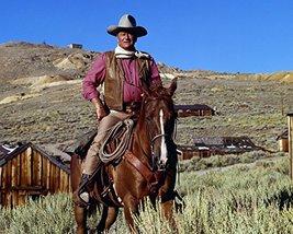John Wayne in Chisum iconic pose on horseback by western town legend 16x20 Canva - $69.99
