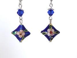 Vintage Blue Cloisonne Floral Dangle Earrings, Diamond-Shaped - $9.95