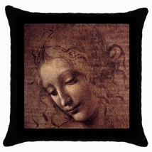 Throw Pillow Case Decorative Cushion Cover Da Vinci Female Head Gift 302... - £13.01 GBP