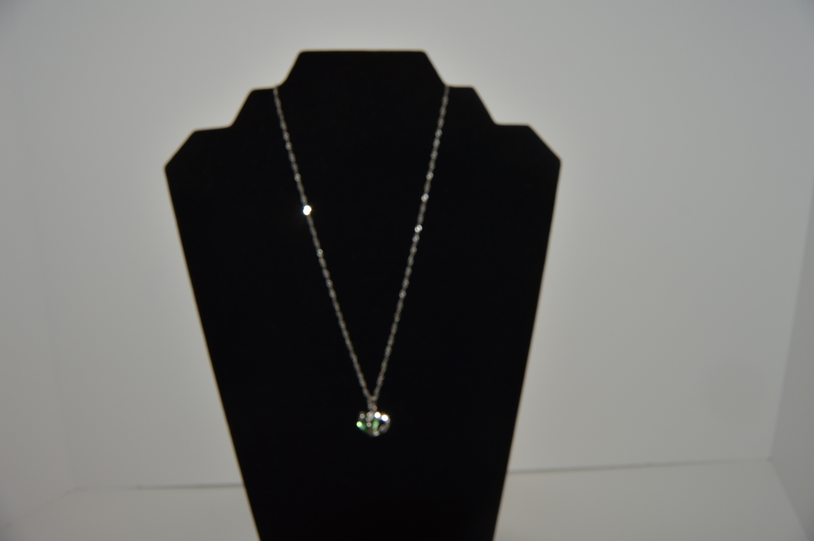 Heart Chrystal Green Rhinestone Silver Necklace 5319