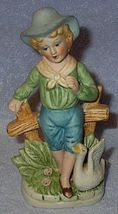 Old Vintage Bisque Country Boy with Goose Figure - $5.00