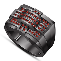 14k Black Gold Plated 925 Silver Round Cut Red Garnet Men's Engagement R... - $108.25