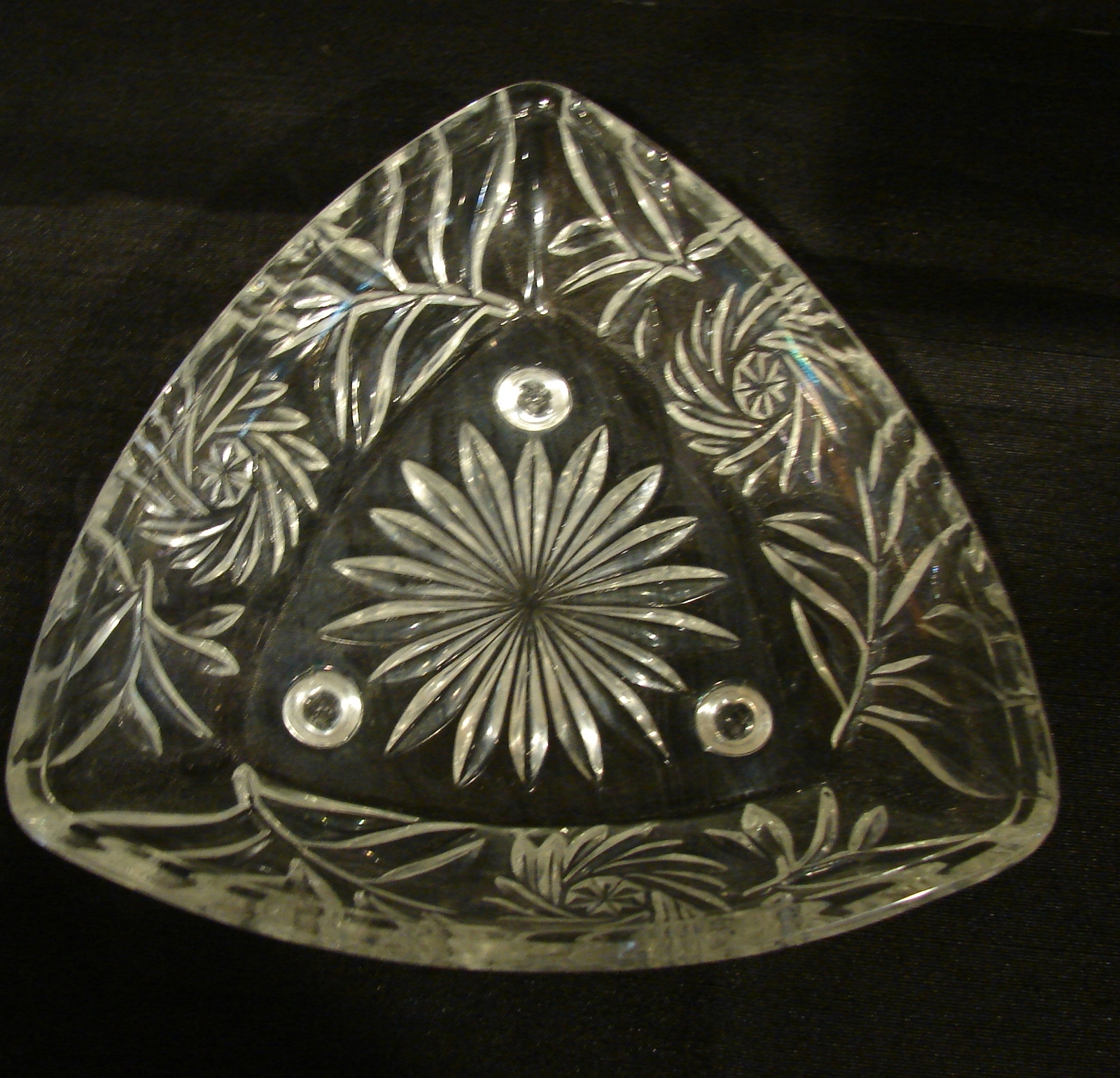 Primary image for Hazel Atlas #6045 Footed Dish, Triangle Shaped Bowl, Elegant Candy Bowl