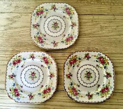 "Royal Albert Petit Point 3 Square Dessert Plates Needlepoint Floral England 6 ⅞"" - $34.58"